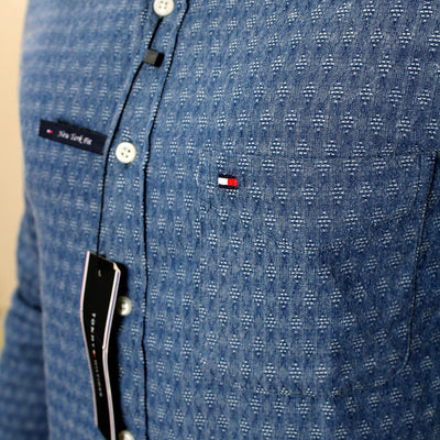 TOMMY HILFIGER-blue textured button down shirt