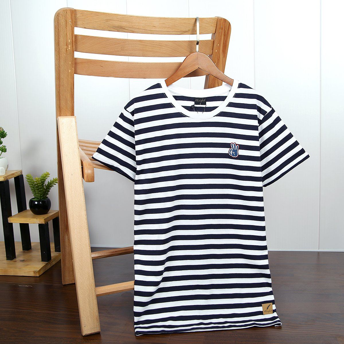 Men Navy and White Striped Soft T-Shirt With Contrasting Logo (21096)