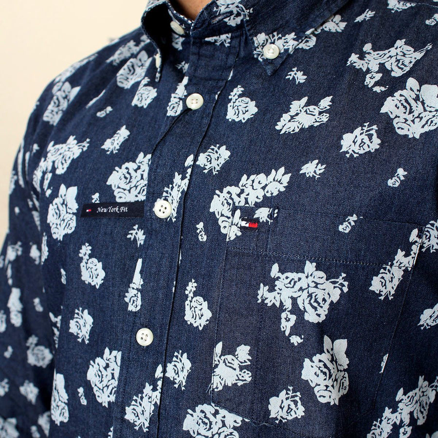 Flower printed button down denim shirt