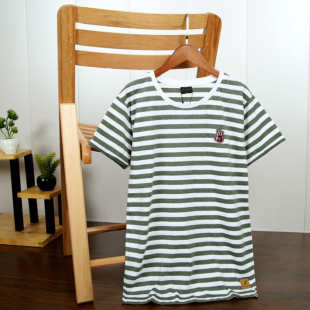 Men Green and White Striped Soft T-Shirt With Contrasting Logo (21094)