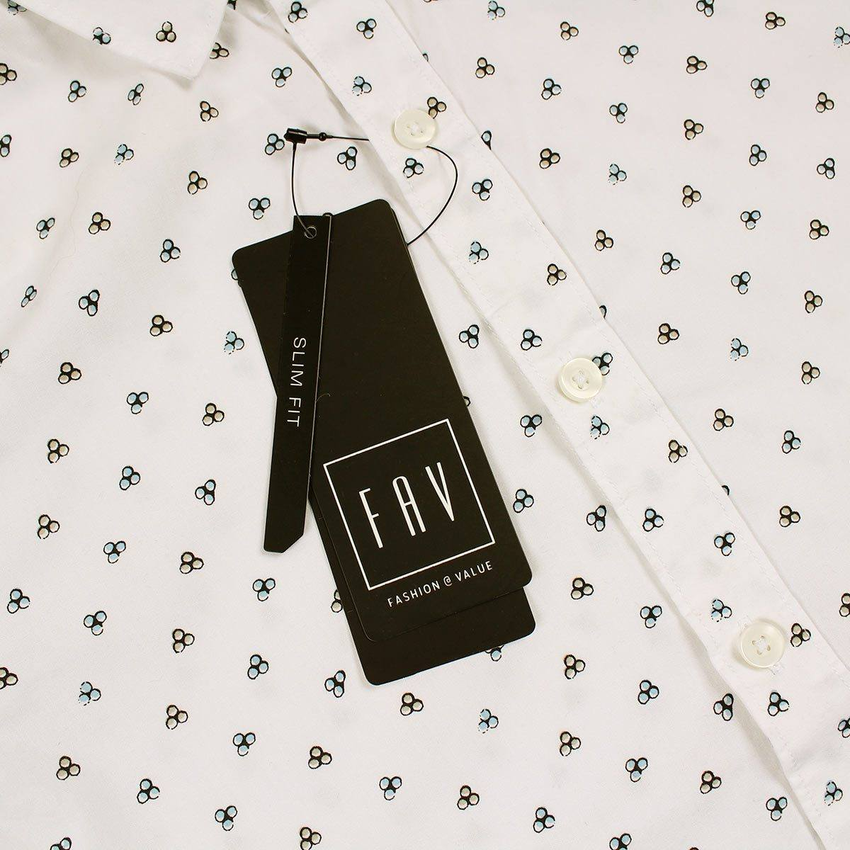 SPL-exclusive white 'slim fit' printed shirt (Egyptian Cotton)