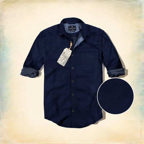 MARFINNO-exclusive blue 'regular fit' doted shirt