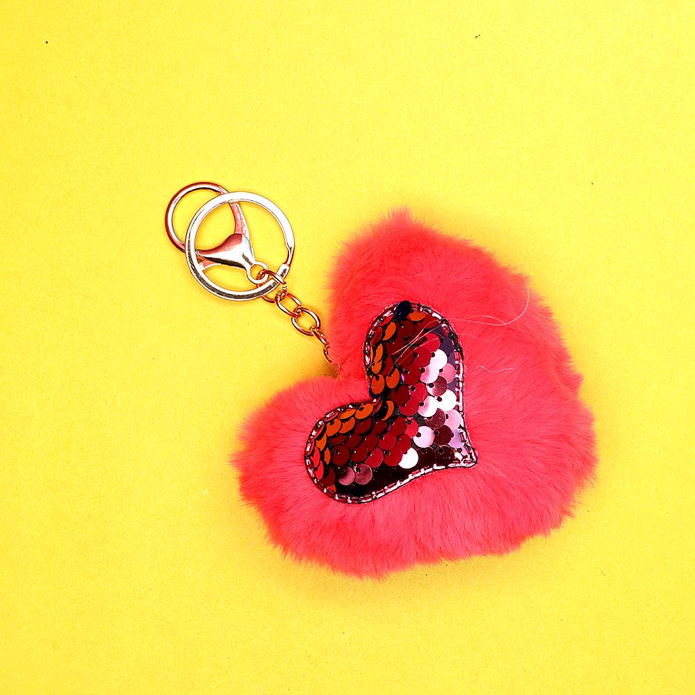 Fluffy fur heart metal key chain