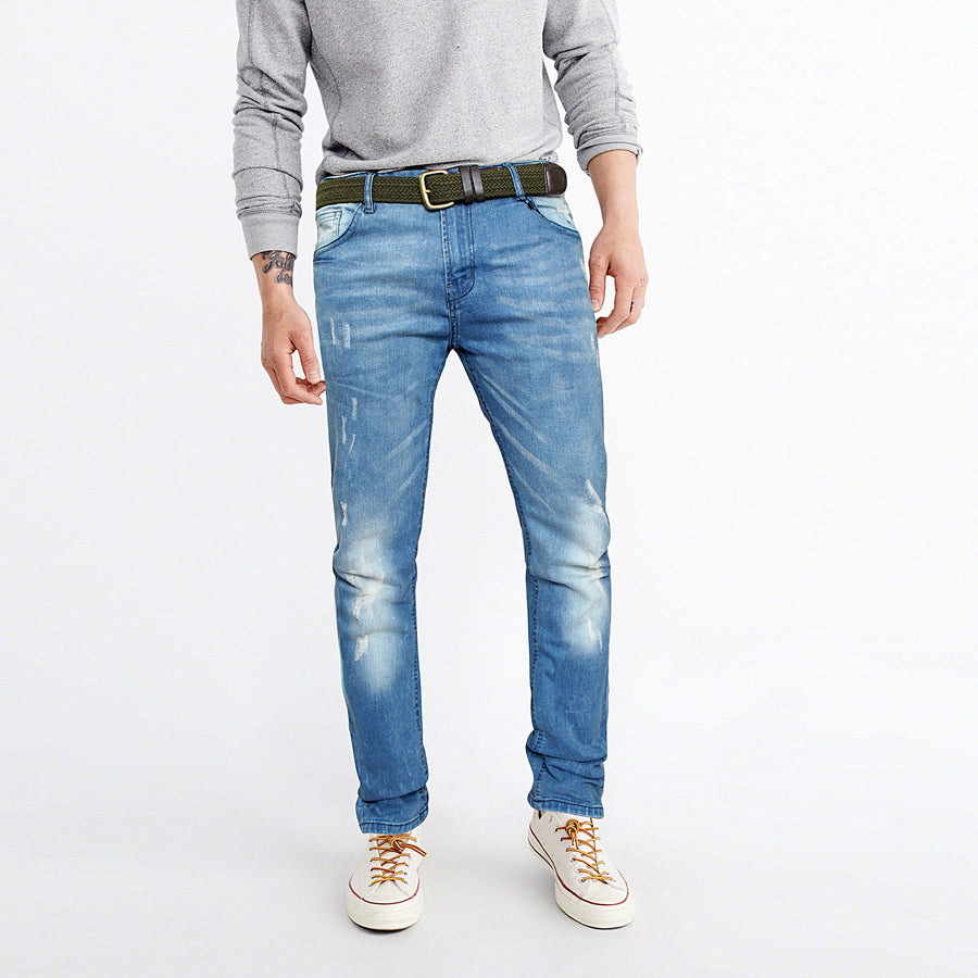 NEXT&CO-slightly distressed 'slim fit' stretch jeans with belt