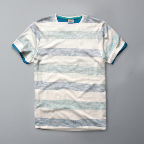 JACK & JONES-slim fit hidden stripes white t-shirt