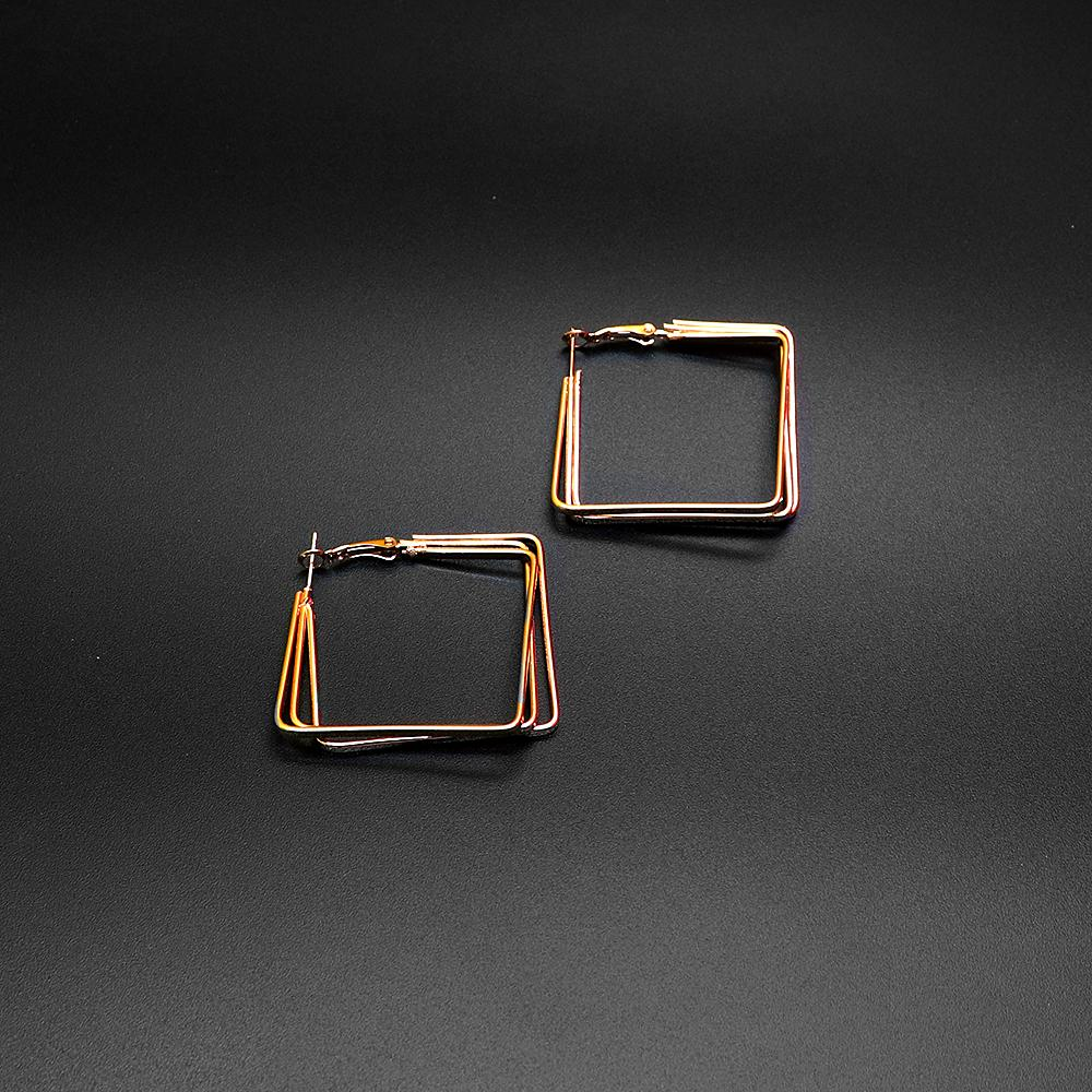 Fashion golden square hoop earrings (2113)