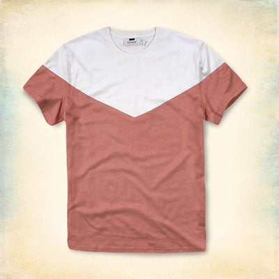 TOPMAN-white&pink 'slim fit' panel t-shirt