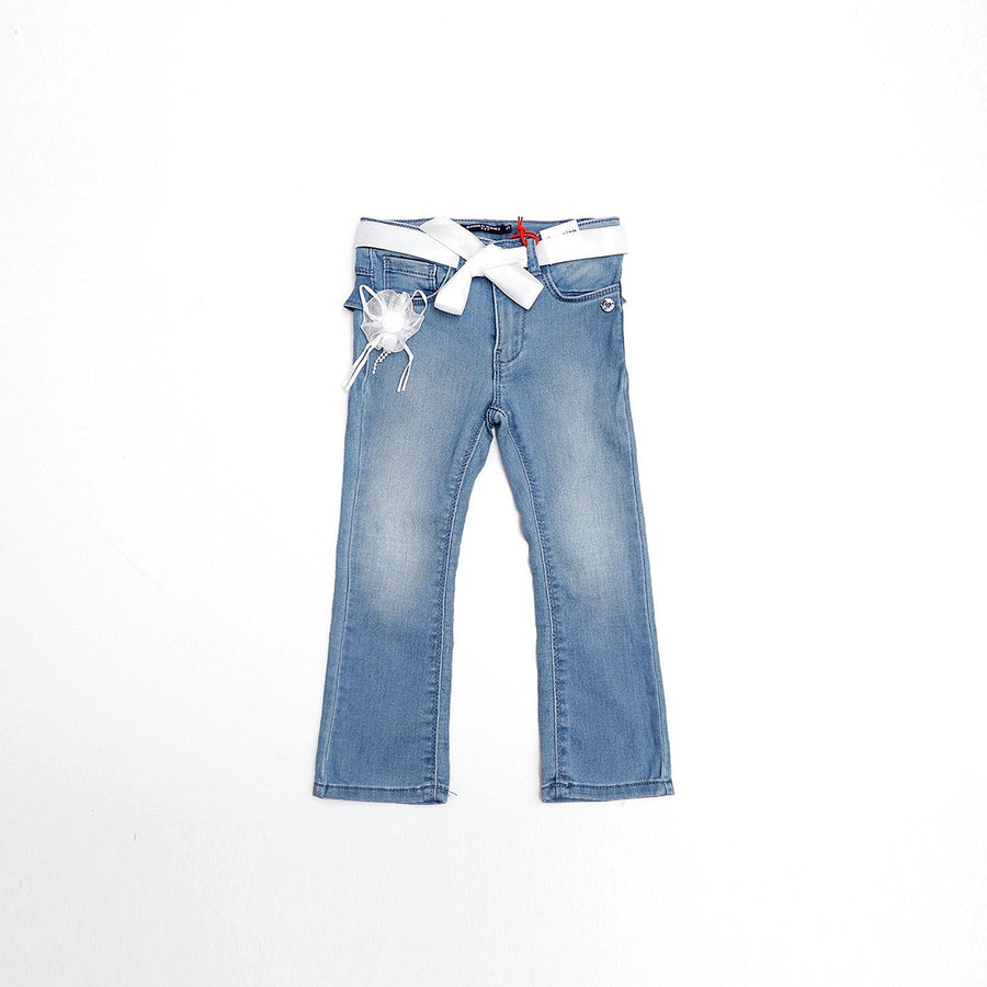 Exclusive girls floral patch bell bottom jeans (1625)