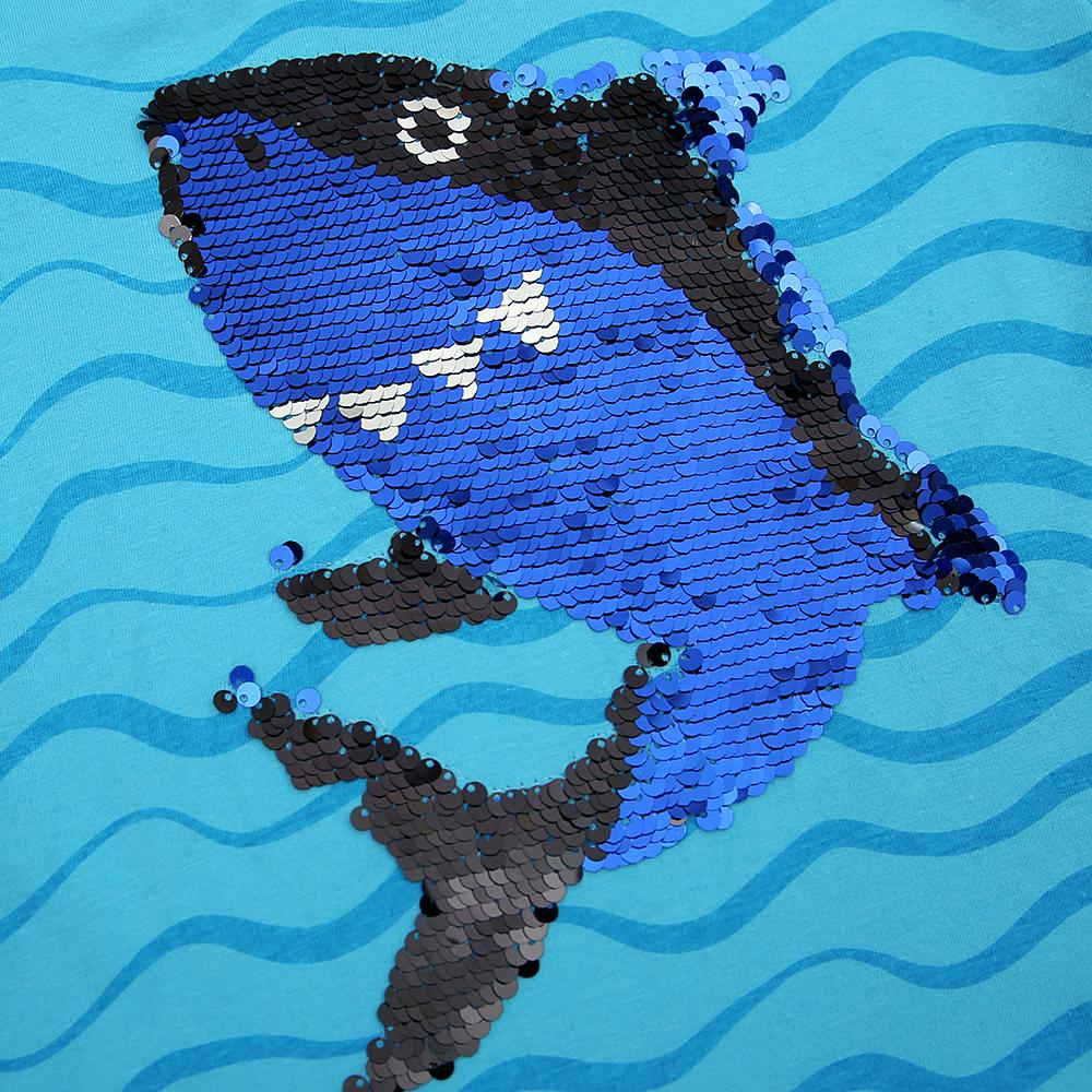 Imported Sequin Shark Graphic Cotton T-Shirt For Girls (21194)