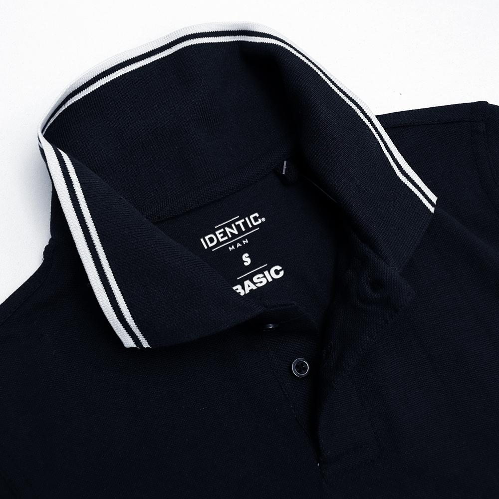 Identc navy tipped collar polo shirt (1627)