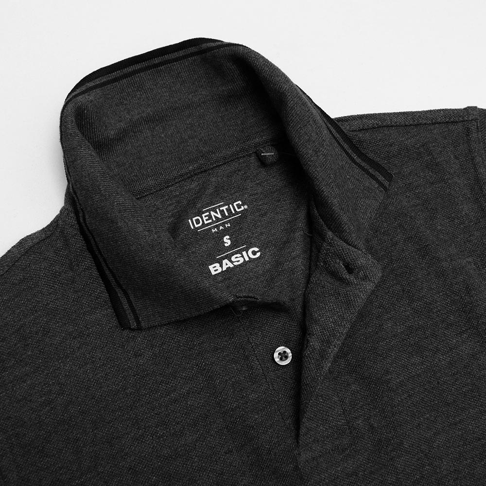 Identc charcoal tipped collar polo shirt (1619)