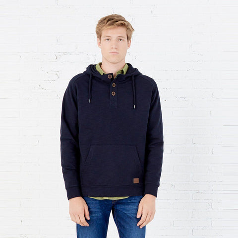 SPRING FIELD-navy hooded buttoned kangaroo