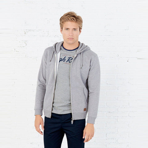 SPRING FIELD-grey basic hooded zipper