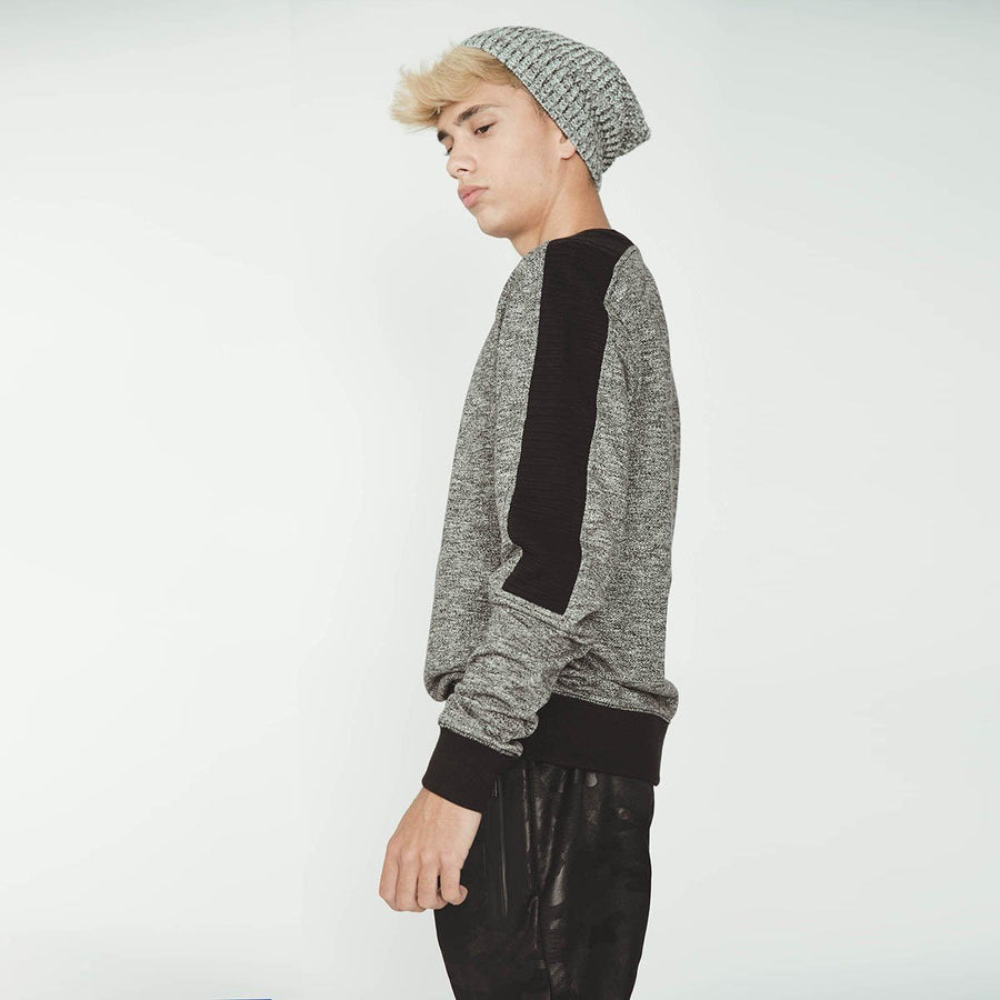 INSIDE-charcoal fashion sweatshirt with contrast rib