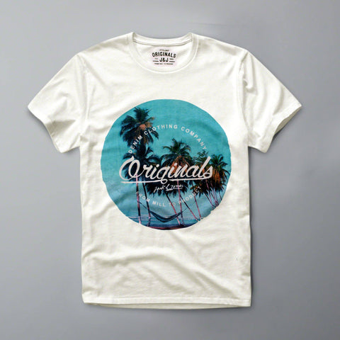 JACK & JONES-slim fit denim clothing white graphic t-shirt
