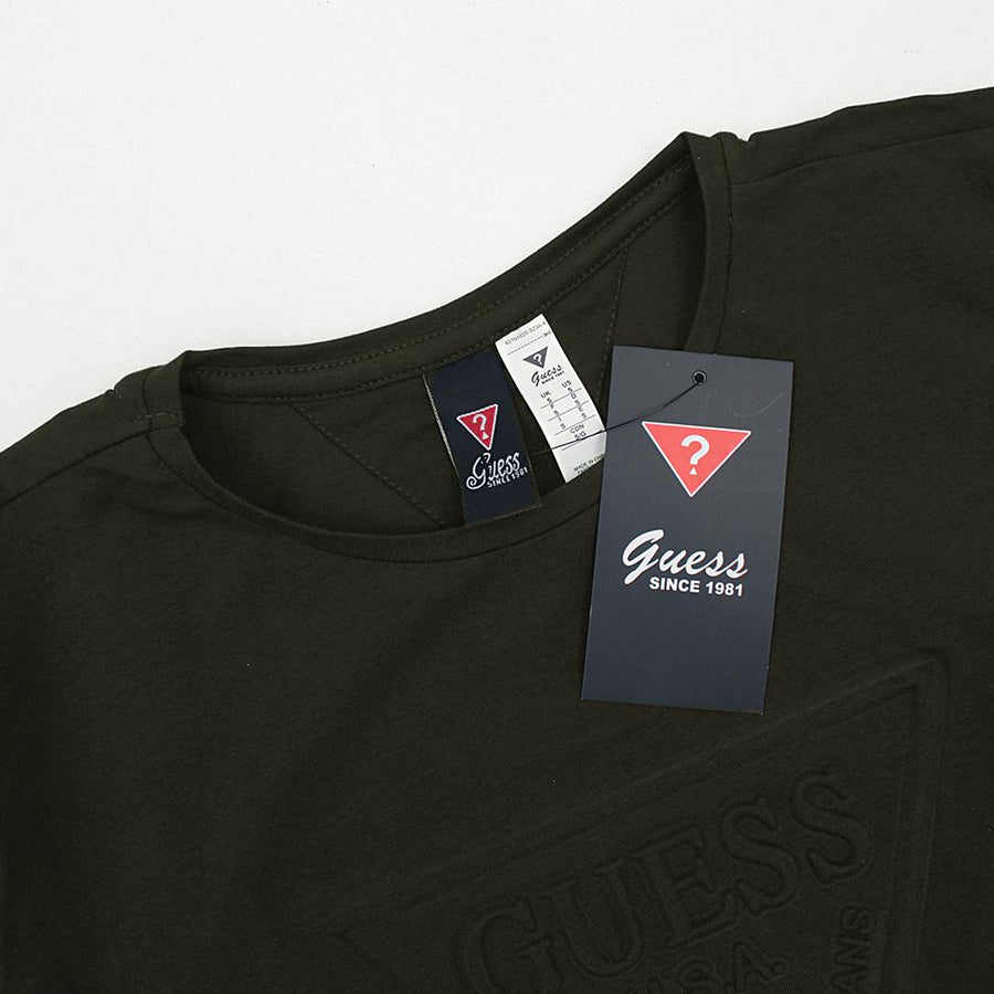 GUESS-olive 'slim fit' logo embossed t-shirt