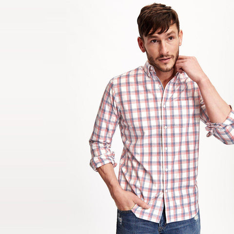 OLD NAVY-classic plaid blue it off check shirt