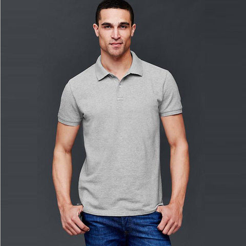 GAP-fine pique heather grey polo