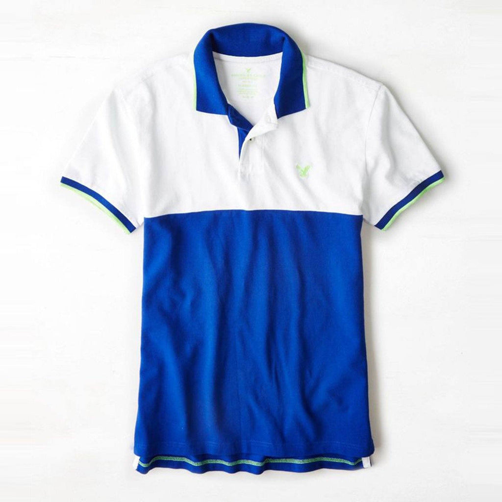 AMERICAN EAGLE-white and blue color block pique polo