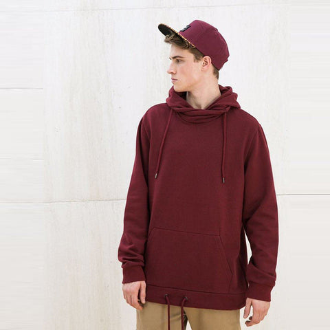 BERSHKA-garnet hooded sweatshirt with kangaroo pocket