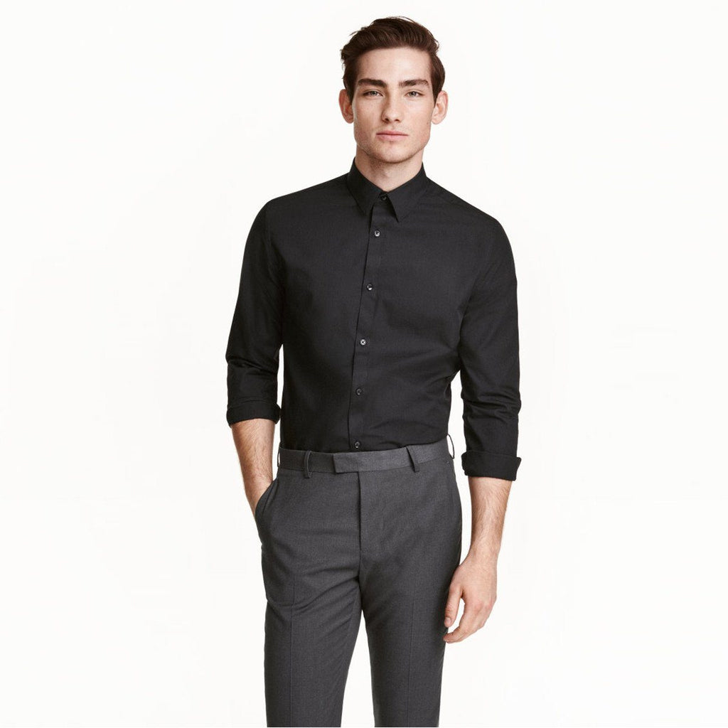 H&M-black 'slim fit' easy-iron shirt