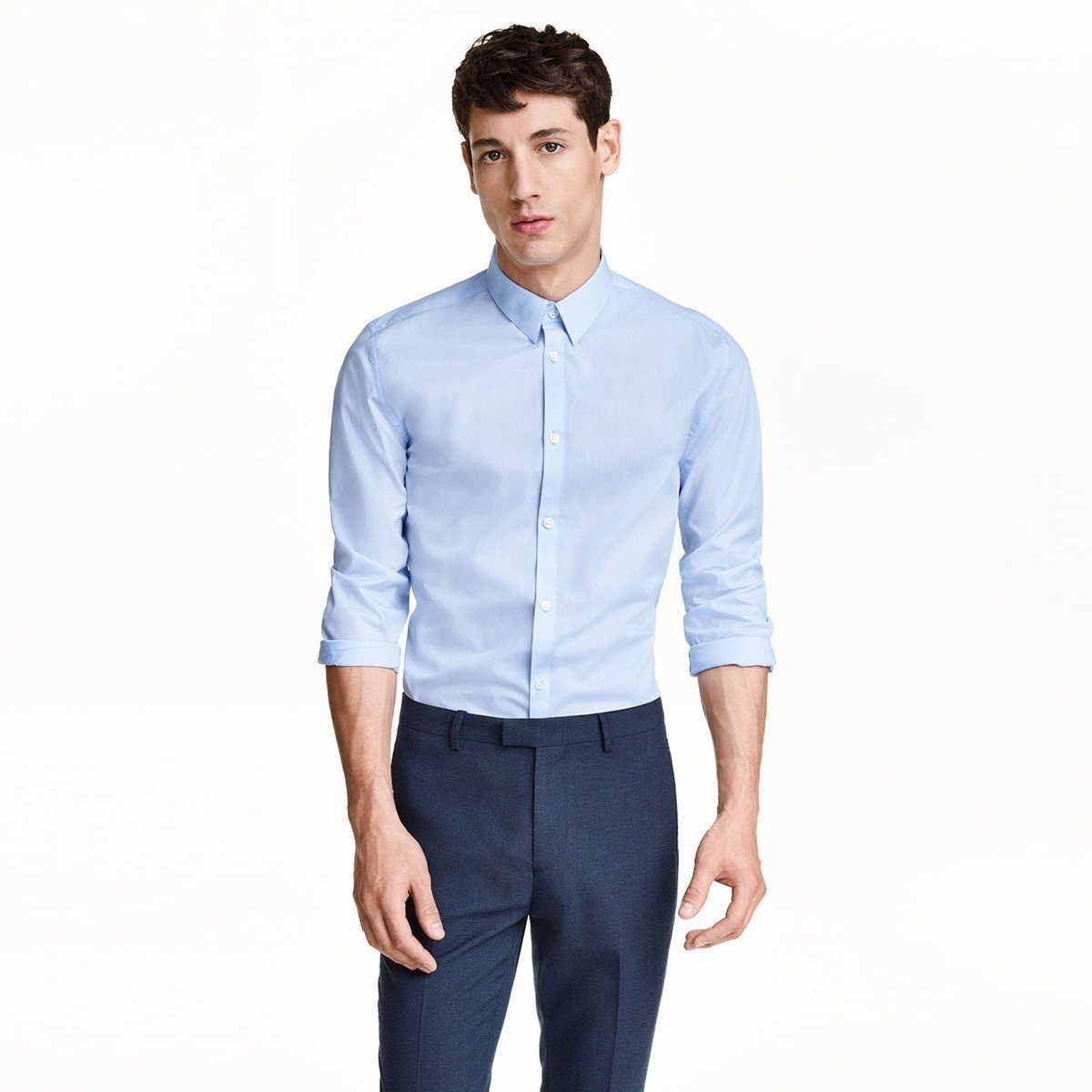 Sky blue 'slim fit' easy-iron shirt