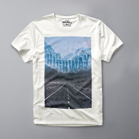 JACK & JONES-slim fit highway white graphic t-shirt