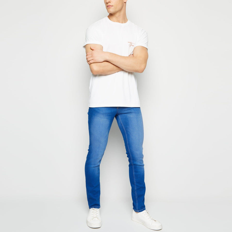 Bright blue mid wash 'skinny fit' stretch jeans (1438)
