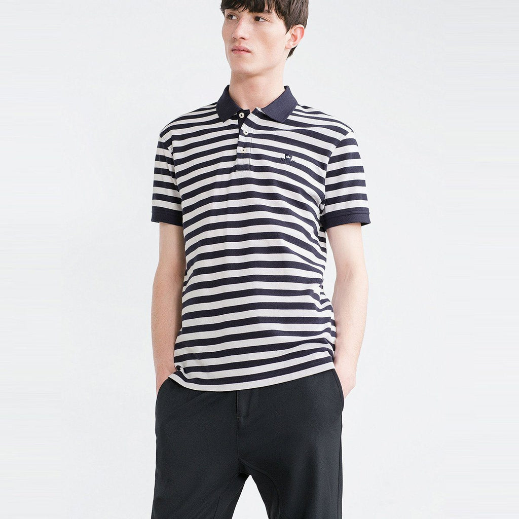 ZARA-exclusive navy blue striped 'slim fit' pique polo