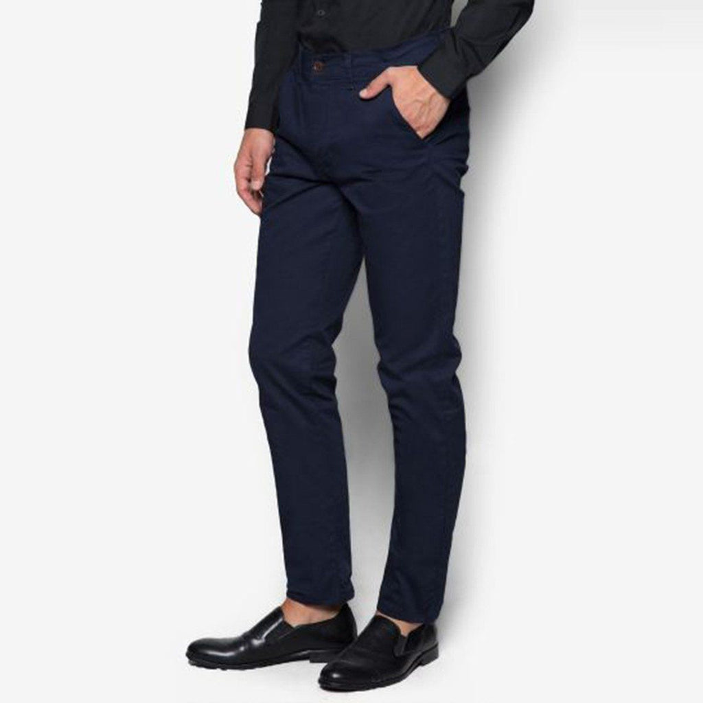 TOPMAN-navy blue stretch 'slim fit' cotton chino
