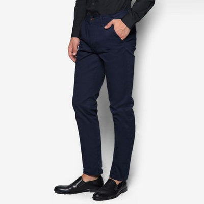 TOPMAN-navy blue stretch 'skinny fit' cotton chino