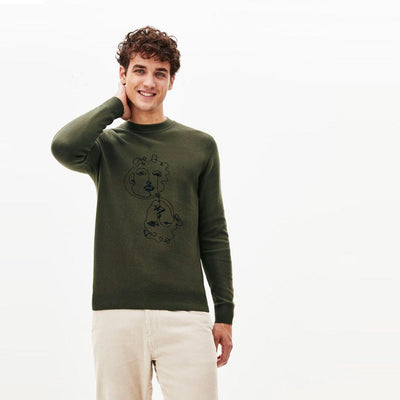 Clio khaki embroidered fleece sweatshirt (1561)