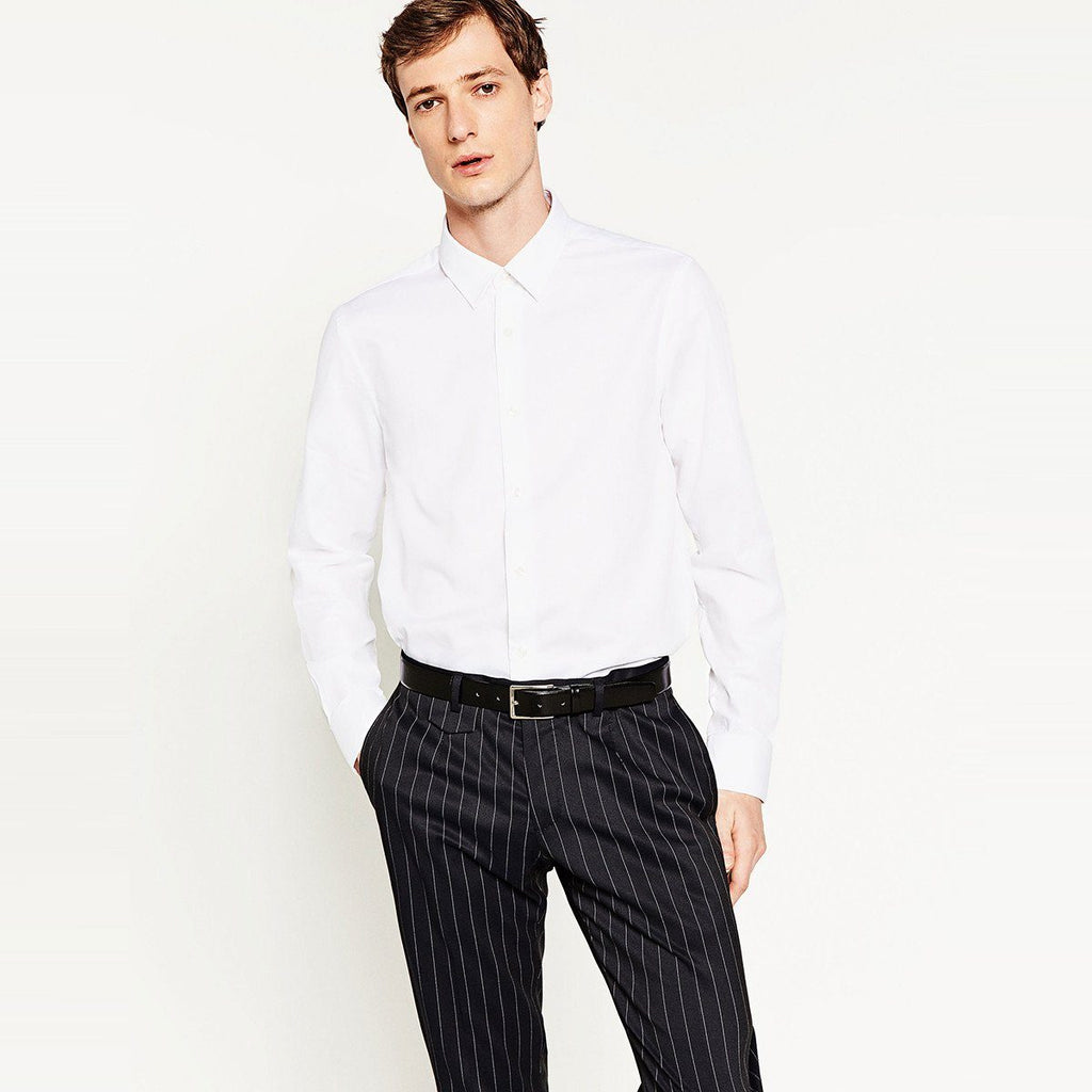 ZARA-slim fit textured weave white shirt