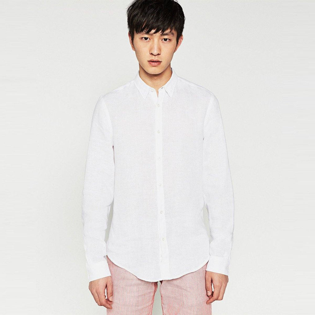ZARA-plain white linen shirt