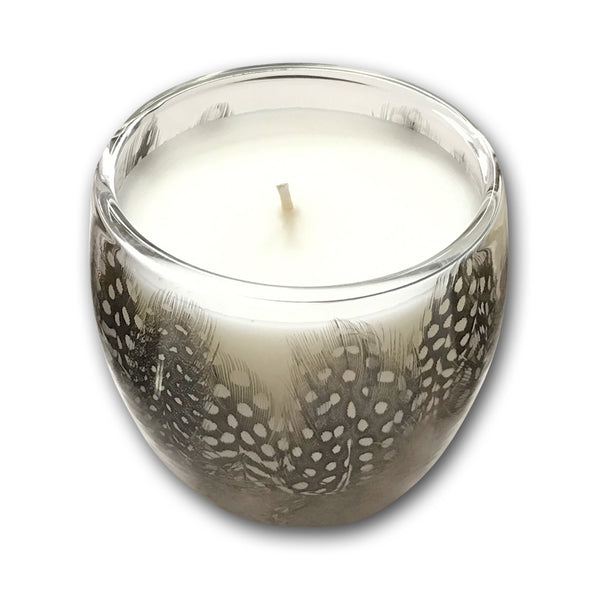 Guinea fowl feather candle