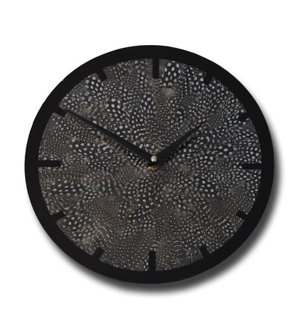 Guinea Fowl feather & glass clock - Limited Edition