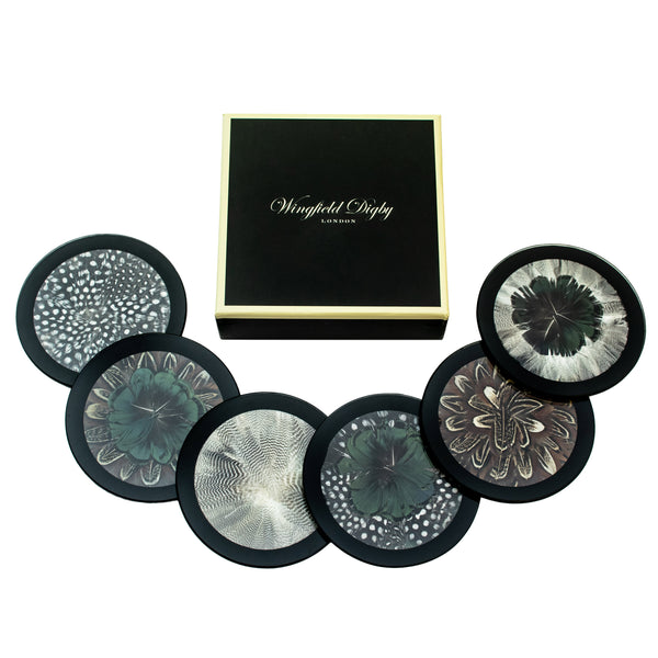 6 x Mix 'n' Match Feather & Glass Coasters