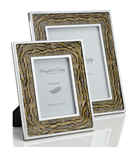 Partridge feather photo frame