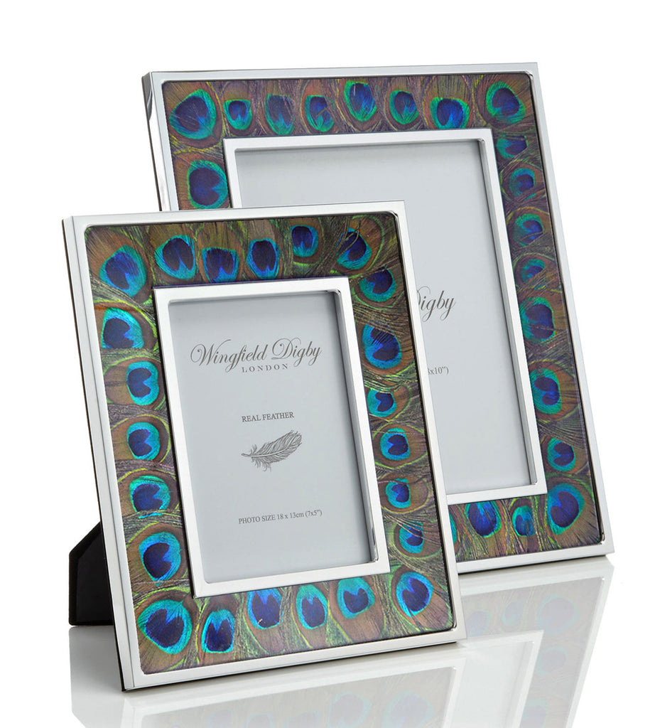 peacock feather glass photo frame limited edition