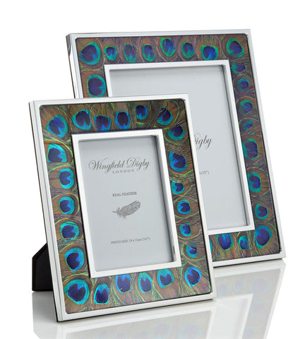 Peacock feather photo frame