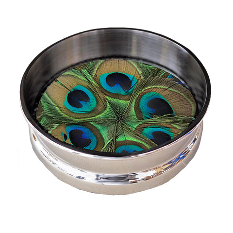 Peacock Feather & Glass Wine Coaster