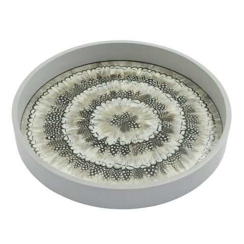 Mixed White Feather & Glass Tray