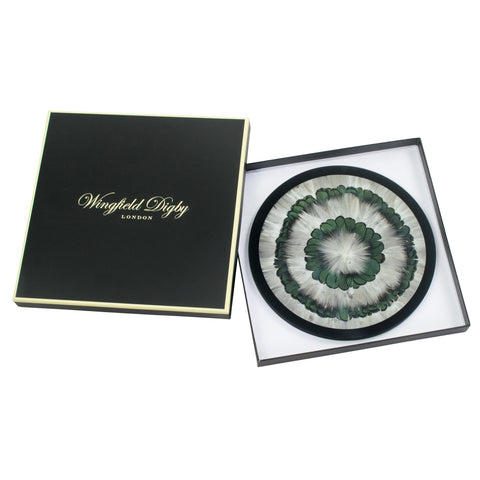 2 x Duck and Green Pheasant Feather & Glass Placemats