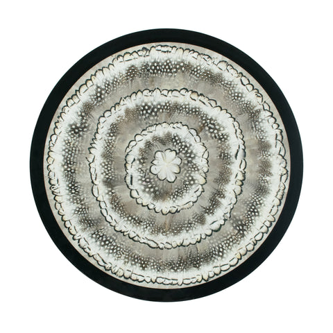 Mixed White Feather & Glass Large Table Centre