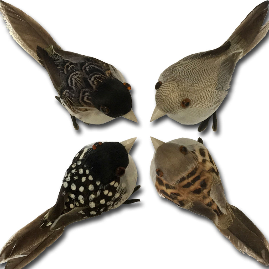 set of 8 real feather bird decorations