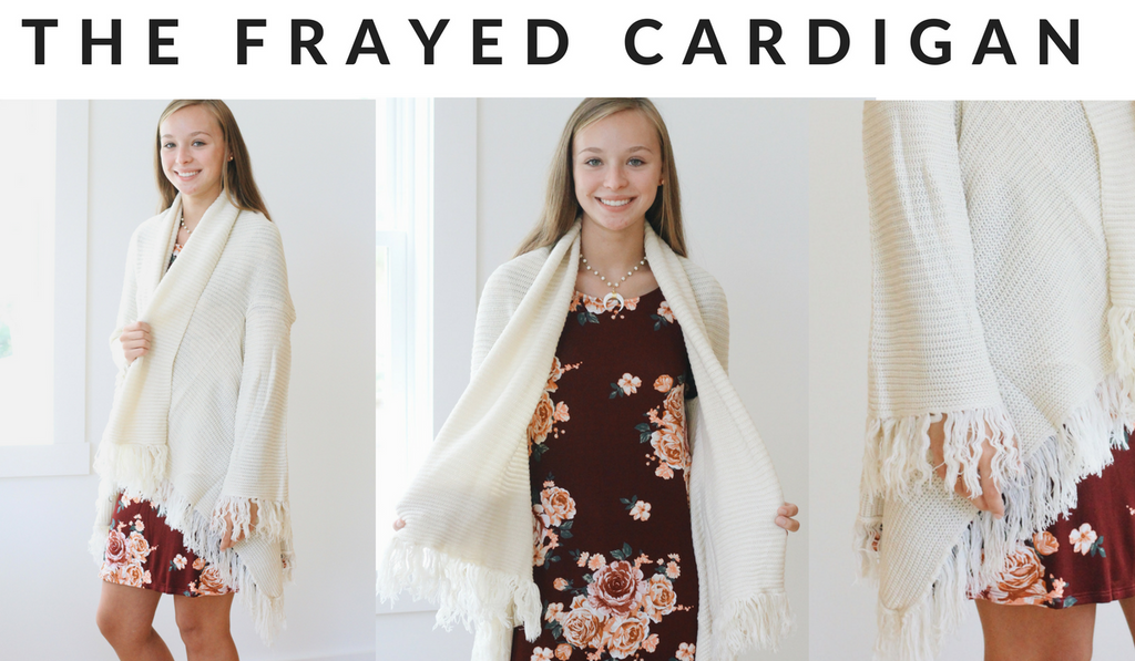 frayed knit cardigan in cream from beaufort proper women's clothing boutique
