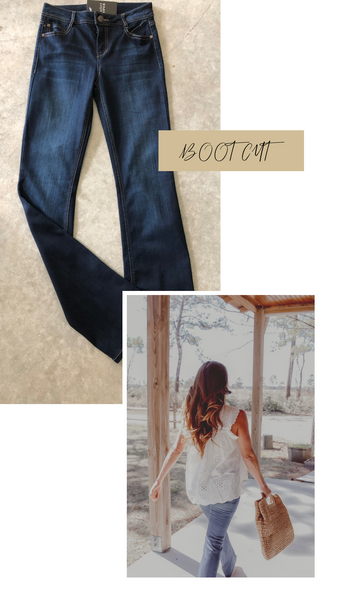 boot cut indigo jeans
