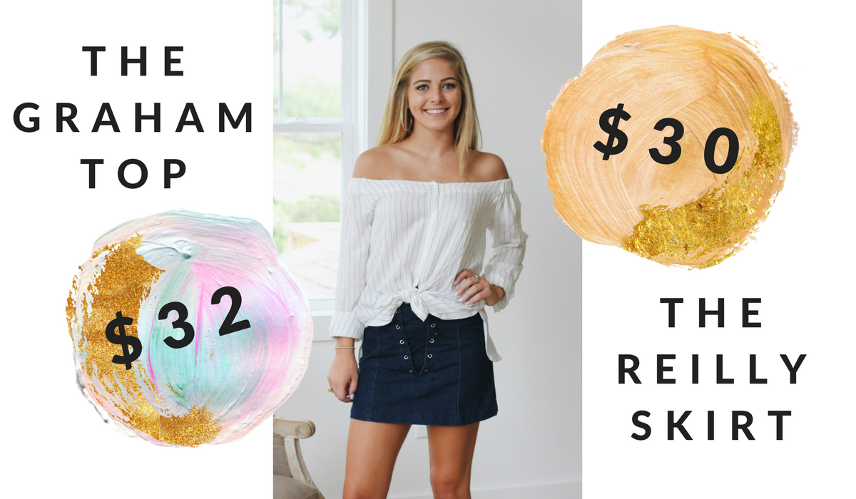Graham off the shoulder button up pinstripe top and the reilly lace up jean skirt