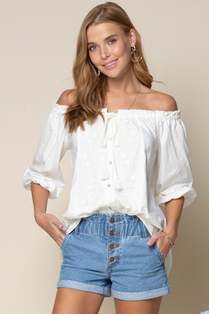 Pleasantries off shoulder top