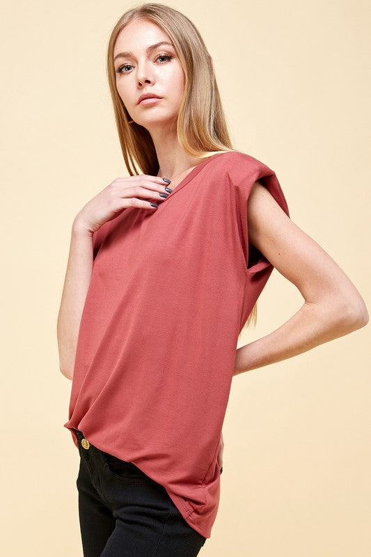 Rosanna padded shoulder T